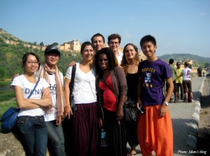 A group with 8 people from 6 different countries