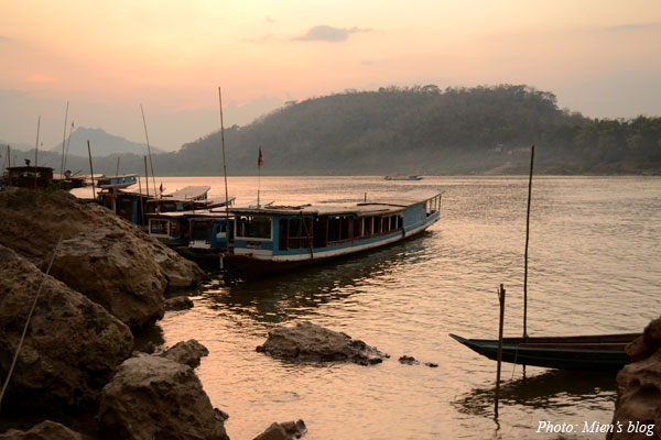 Sunset on Mekong river in Luang Prabang