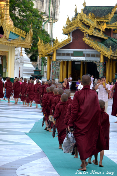 The monks going around for a ceremony in the afternoon at Shwedagon Pagoda